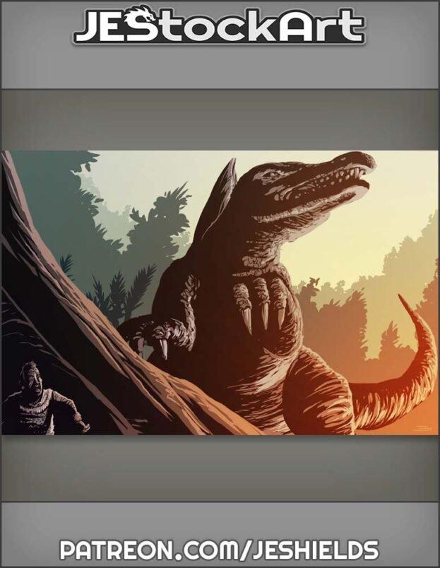 Prehistoric Gatherer Hiding From Dinosaur by Jeshields