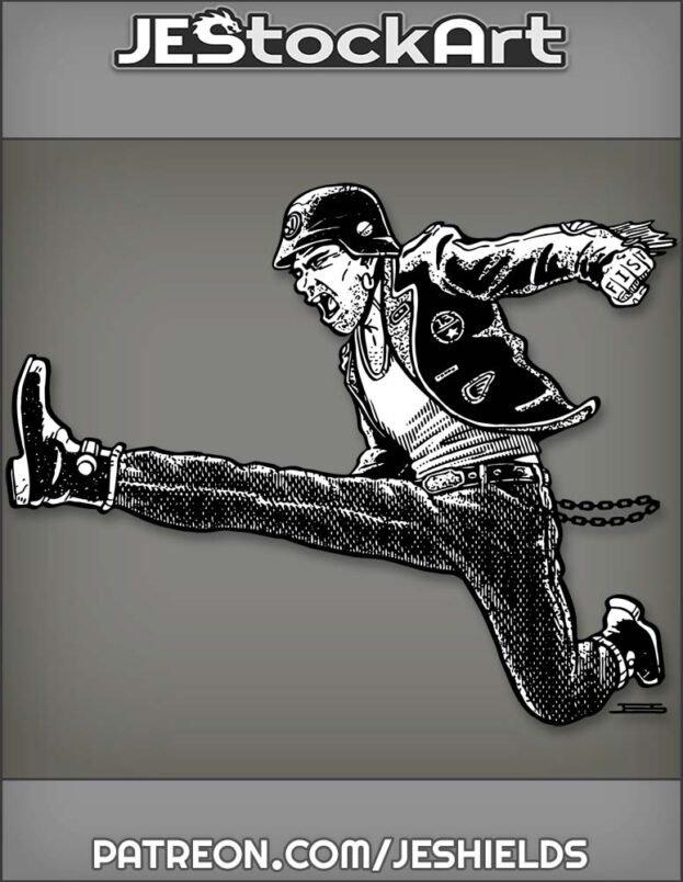 Biker In Jacket And Helmet With Fist Tattoo Leap Kicks by Jeshields