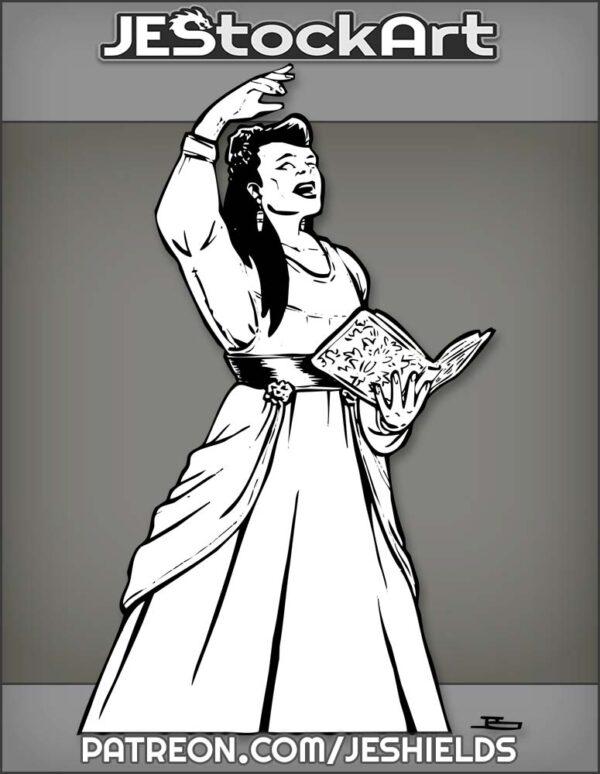 Elite Woman In Fancy Dress Sings Or Chants With Book by Jeshields