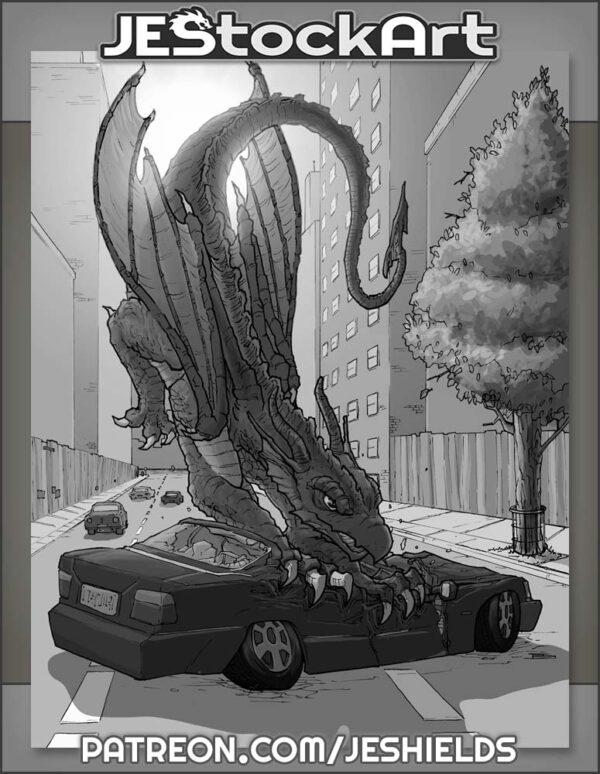 Flying Fantasy Dragon Crushes Car by Jeshields