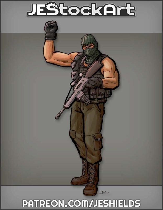 Sleeveless Militia Personnel Raising Fist by Jeshields