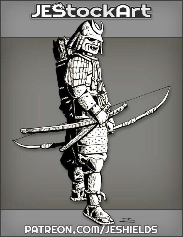 Samurai In Sengoku Armor With Bow by Jeshields