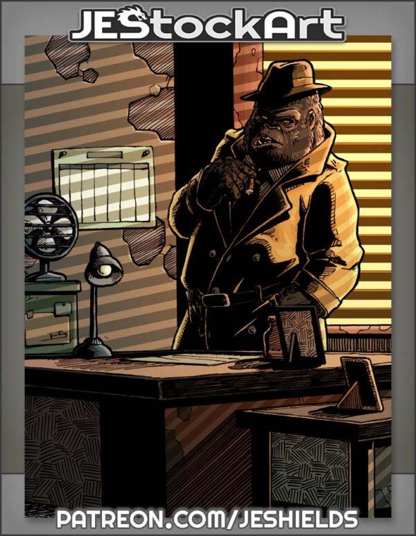 Pulp Noir Gorilla Detective In Office by Jeshields