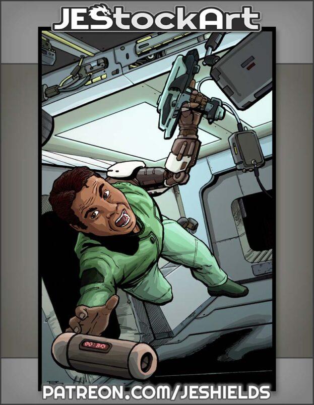 Adventurer With Cyber Arm In Zero Gravity by Jeshields