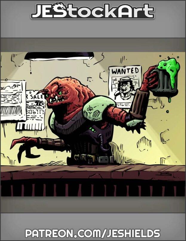 Alien Barkeep With Frosty Mug Behind Bar by Jeshields