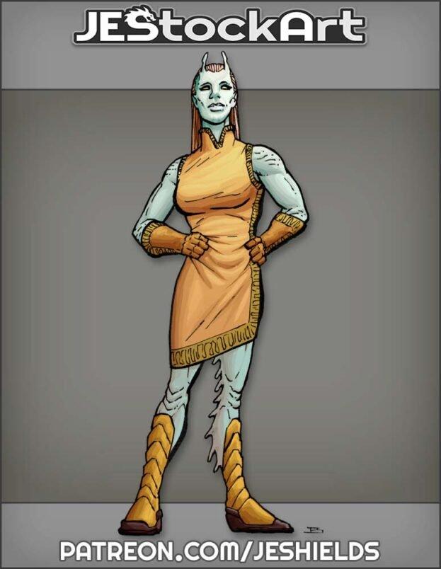 Alien Lady In Dress With Antennae by Jeshields
