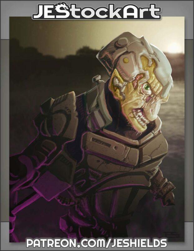Armored Alien in Purple Glow by Jeshields