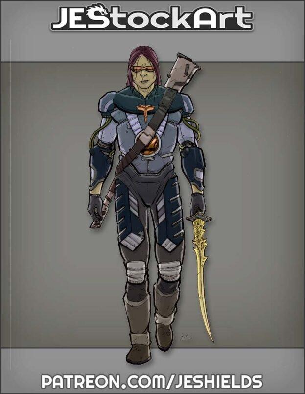 Armored Mercenary with Rune Sword by Jeshields