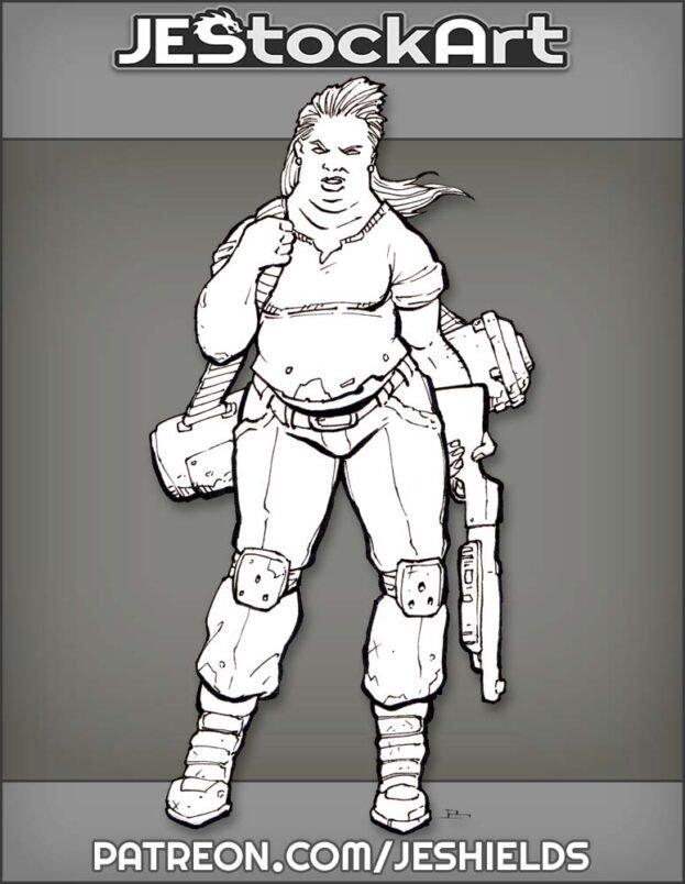 Bubba Heavy Set Female With Shotgun by Jeshields