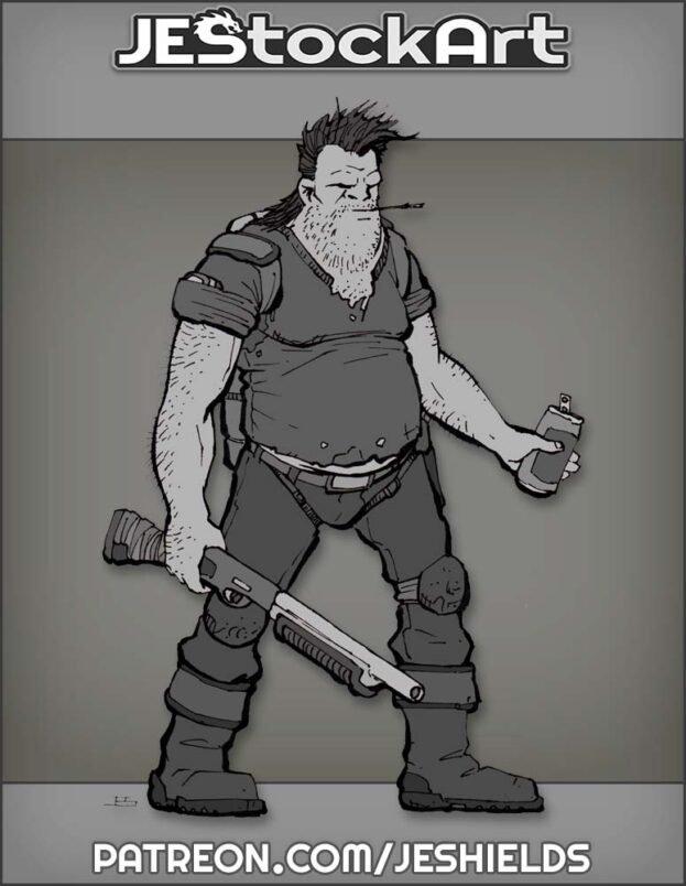 Bubba Heavy Set Male With Shotgun by Jeshields
