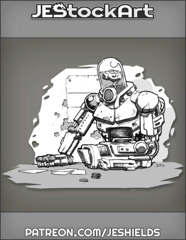 Cyber Mercenary with Encased Brain Plays Cards by Jeshields