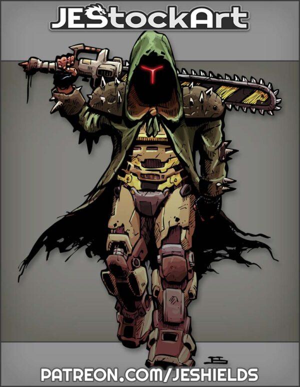 Grim Dark Cloaked Warrior With Chain Sword by Jeshields
