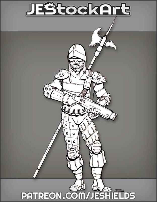 Landshnekt Mercenary With Space Halberd by Jeshields