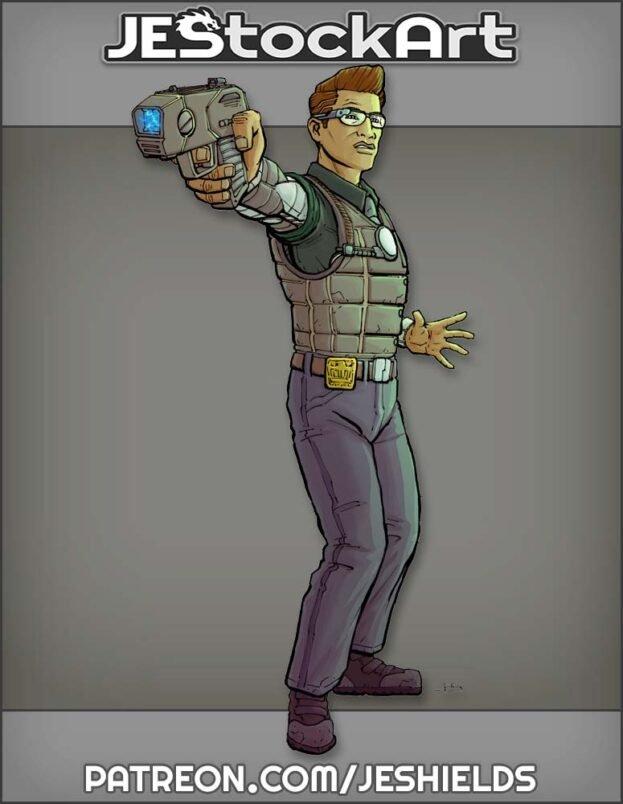 Near Future Detective with Tazer by Jeshields