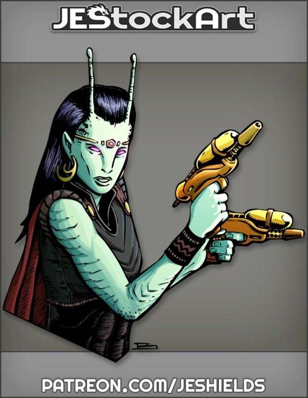 Pulp Alien Female Adventurer With Pistols And Antennae by Jeshields