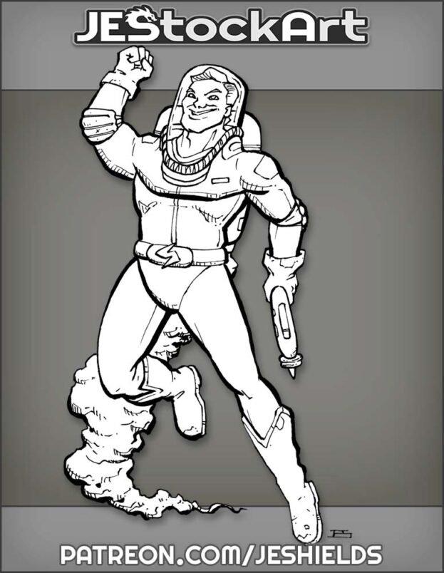 Pulp Space Commander on Patrol by Jeshields
