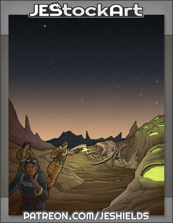 Retro Explorers On Alien Surface by Jeshields