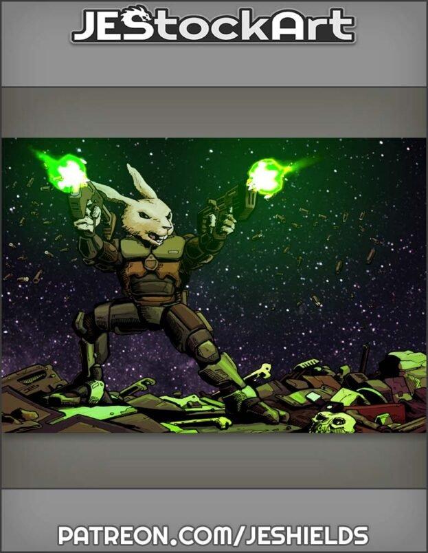 Scombat Space Rabbit Firing Dual Weapons Var B by Jeshields