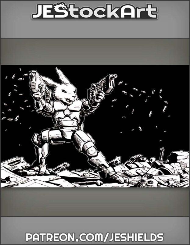 Scombat Space Rabbit Firing Dual Weapons by Jeshields