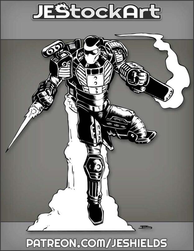 Tuxedo Themed Power Armor In Flight With Smoking Gun by Jeshields