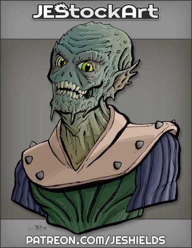 Wrinkled Alien Leader with Skull Face by Jeshields