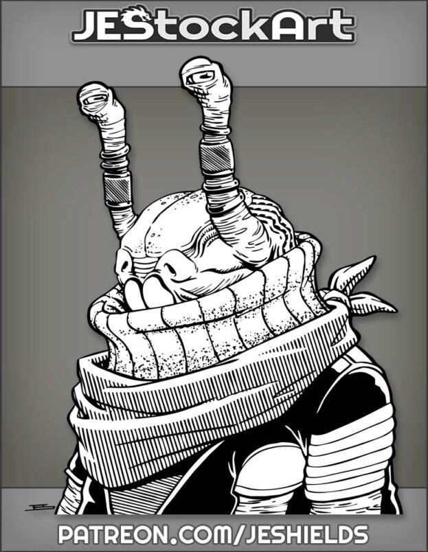 Alien With Decorated Eye Stalks Wearing Bandana by Jeshields