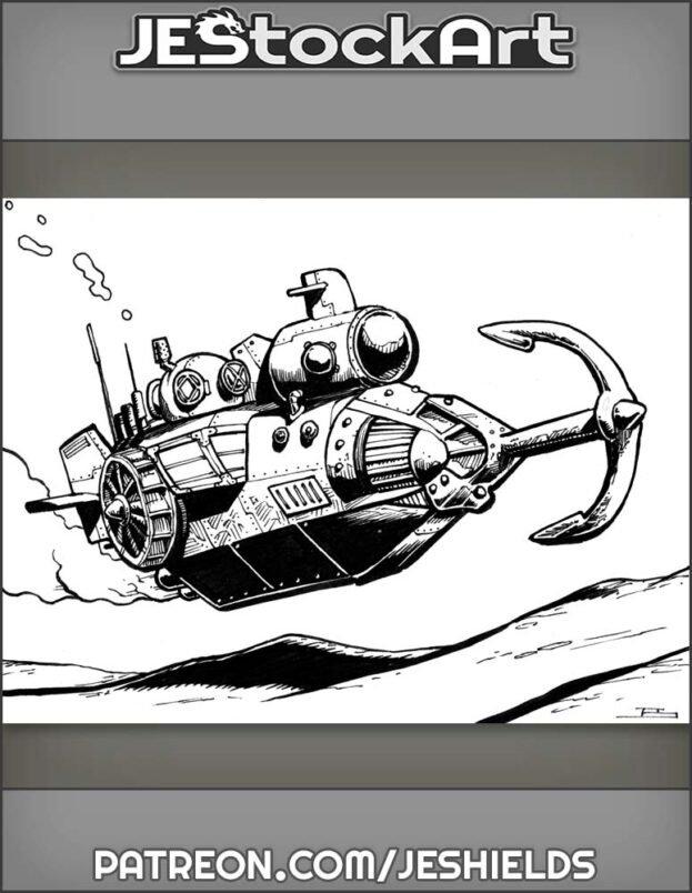 Steampunk Submarine On Ocean Floor by Jeshields
