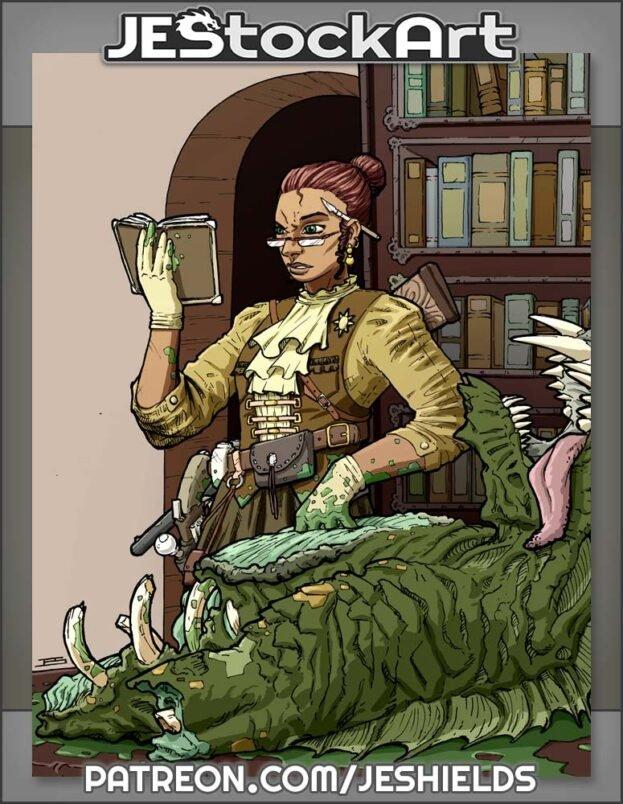 Librarian Monster Hunter Inspecting Cadaver by Jeshields
