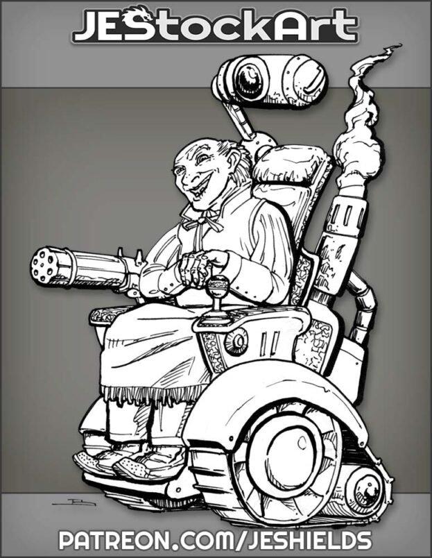 Wild West Crazy Inventor In Wheelchair by Jeshields