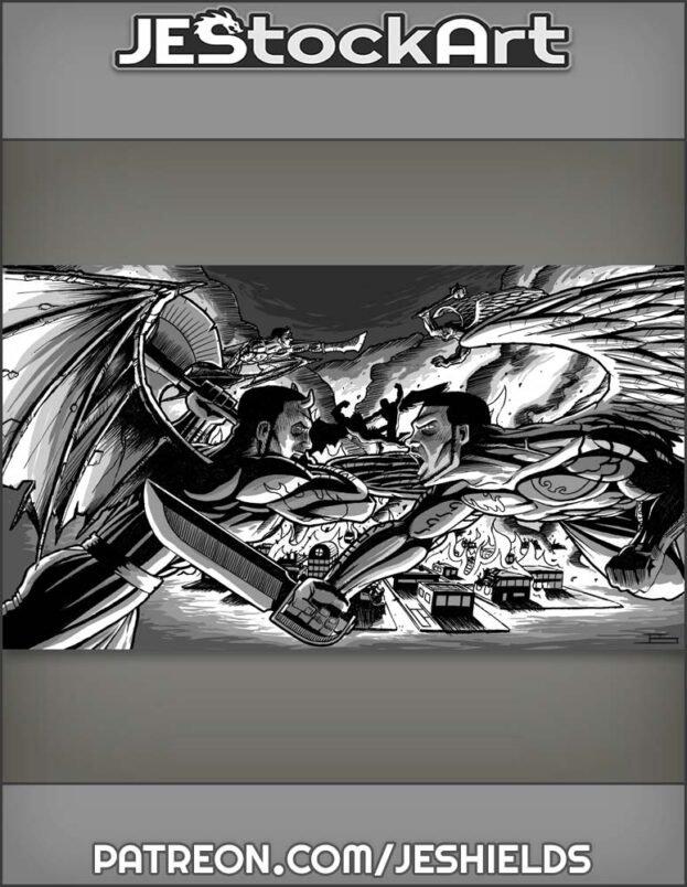 Angel and Demon Fight in Spirit War by Jeshields