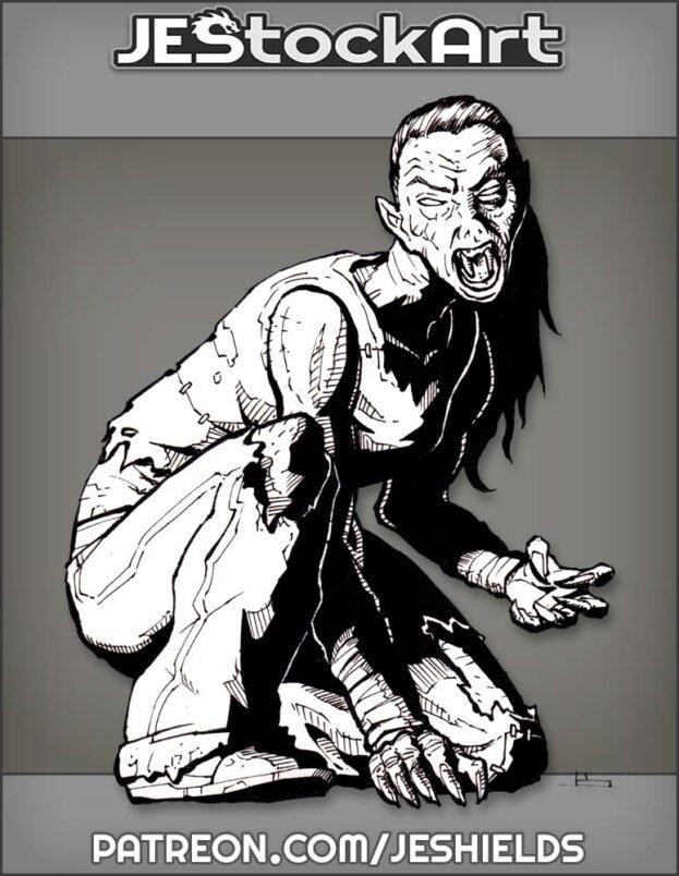 Feral Female Vampire In Torn Pants by Jeshields
