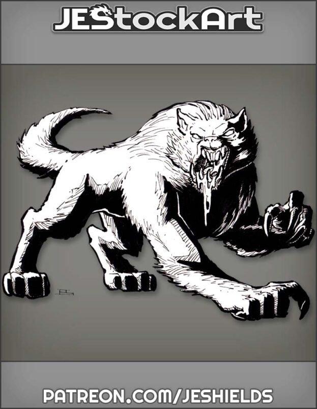 Feral Werewolf Drooling Blood by Jeshields