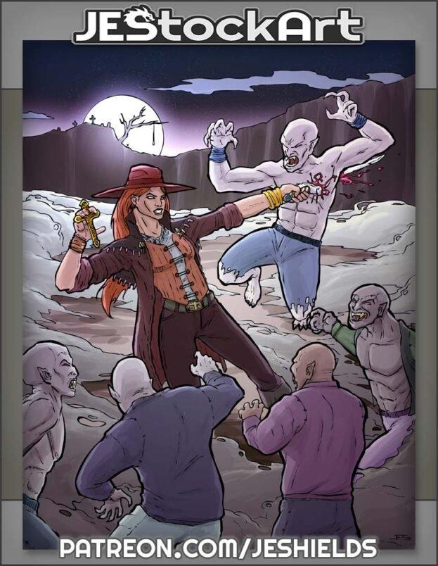Monster Hunter Vs Vampire Horde At Night by Jeshields
