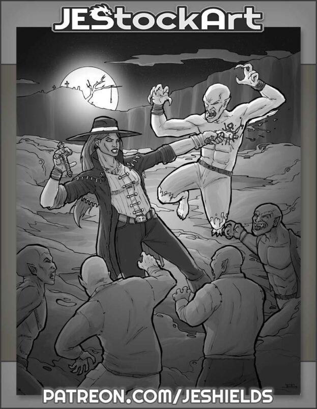 Monster Hunter versus Vampire Horde by Jeshields
