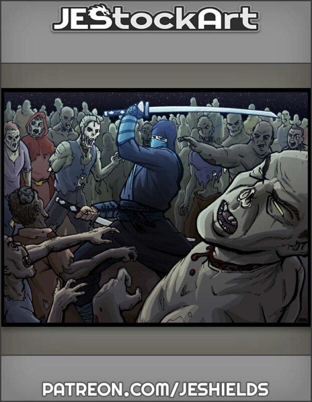 Ninja With Katanas Vs Zombie Horde by Jeshields