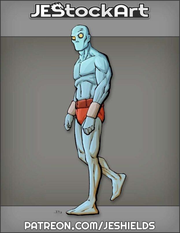 Blue Alien With Cybernetic Eyes by Jeshields