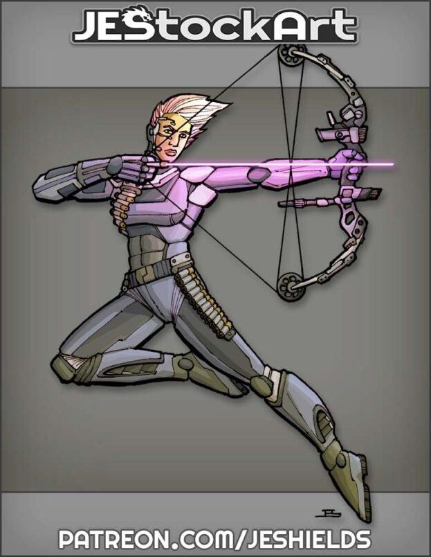 High Tech Female Archer with Energy Arrow by Jeshields