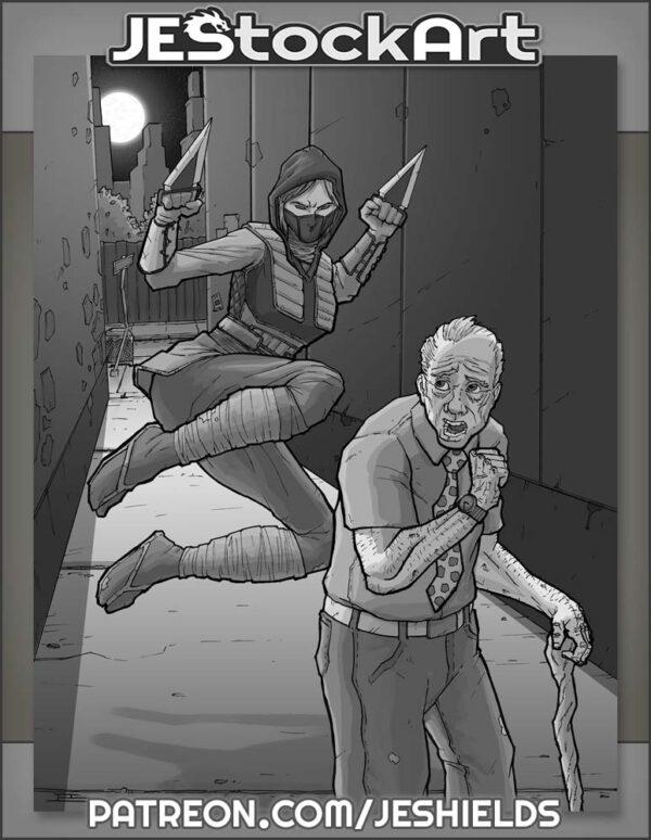 Ninja Attack in Alley by Jeshields