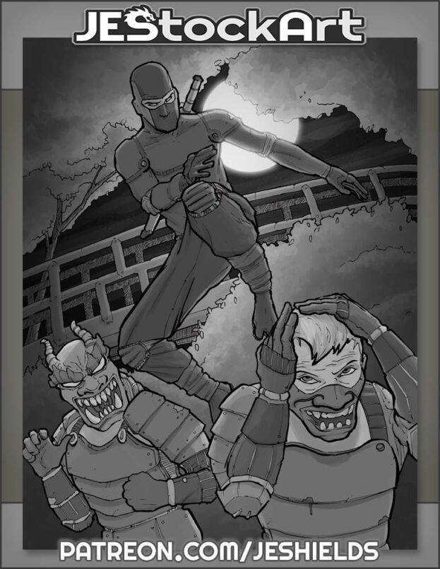 Ninja Hero versus Kabuki Guards by Jeshields