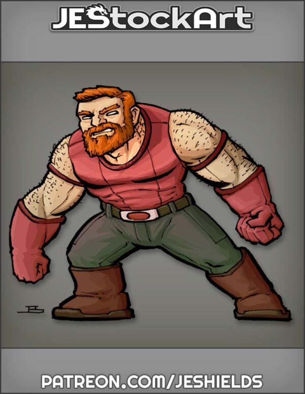 Short Muscle Man with Beard by Jeshields