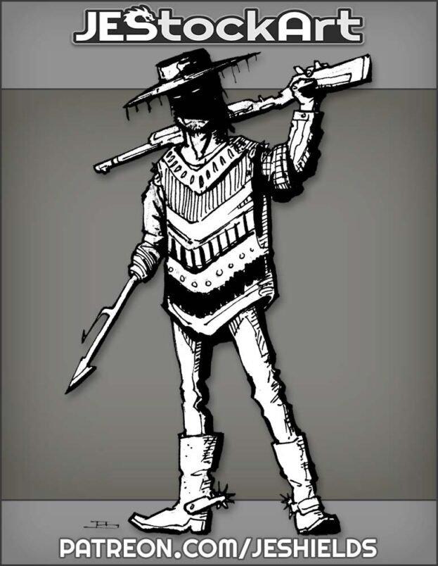 Hispanic Gunfighter In Poncho With Harpoon Hand by Jeshields
