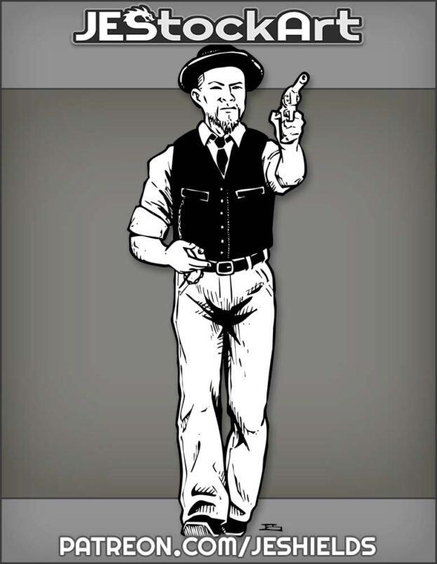 Oriental Man In Dark Vest With Pocket Watch And Pistol by Jeshields