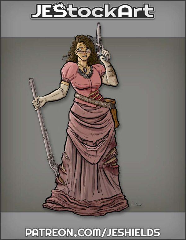 Wary Riflewoman in Tattered Dress by Jeshields