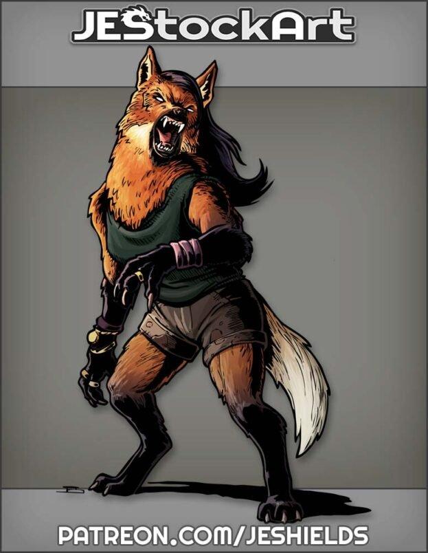 Growling Female Maned Werewolf In Shorts by Jeshields