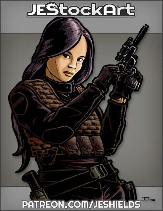 Asian Mercenary With Pistol And Flak Jacket by Jeshields