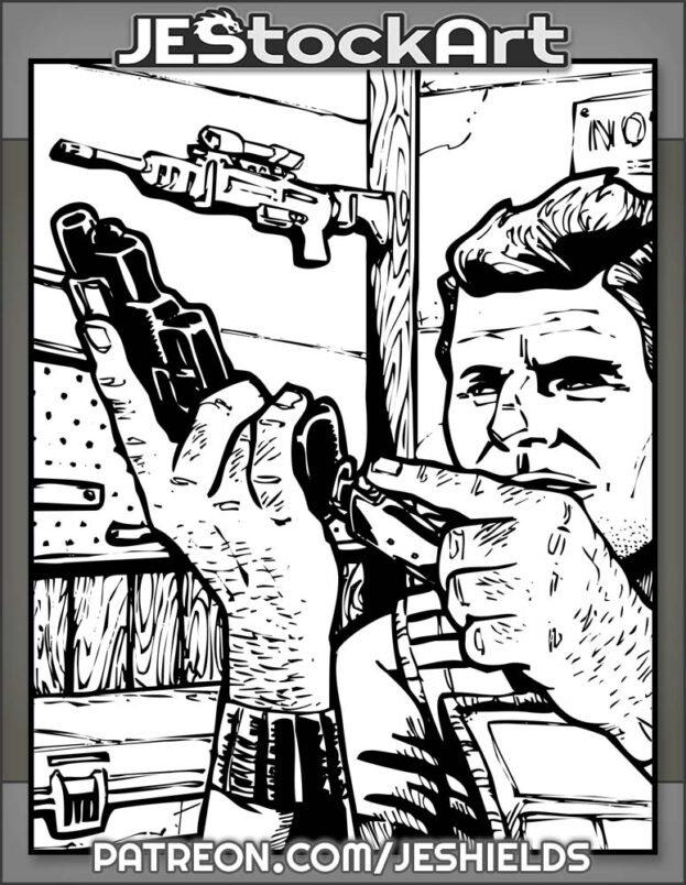 Man In Flak Jacket Loads Magazine Into Pistol In Weapons Locker by Jeshields