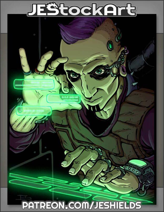 Cyberpunk Hacker With Dark Eyes Using Digital Screen And Keyboard by Jeshields