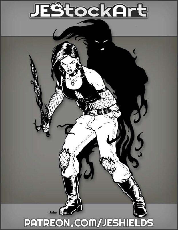 Shadow Warrior Woman With Dark Blade by Jeshields