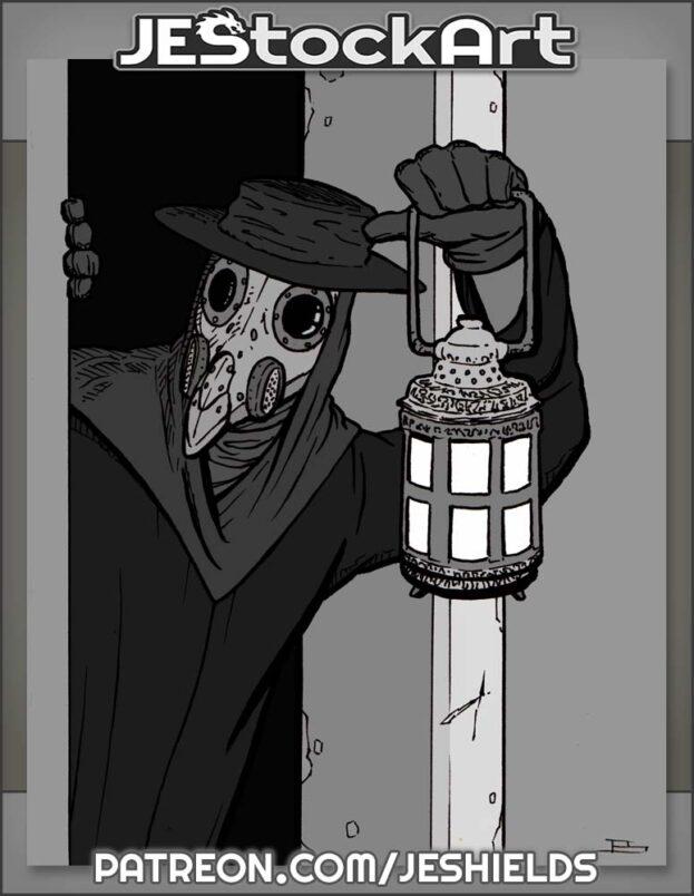Plague Doctor With Lantern In Doorway by Jeshields