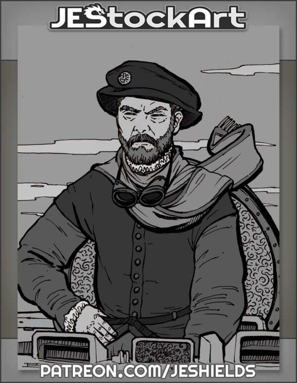Bearded Captain Aboard Clockwork Vessel by Jeshields